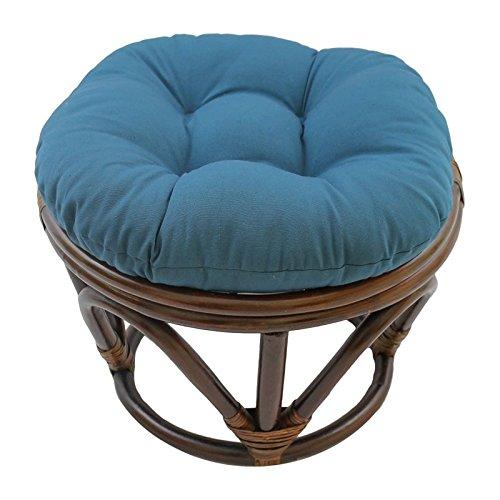 Rattan Round Chair - Blazing Needles Solid Twill Round Footstool Cushion, 18