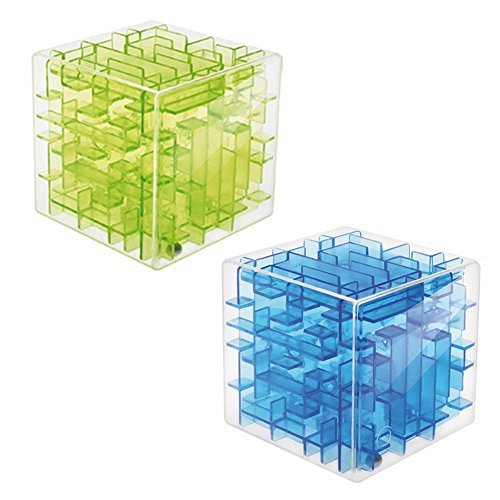 2pcs Mini 3D Magic Cube Puzzle Box Speed Sequential Maze Puzzles Game Labyrinth Rolling Ball Toys Cubos Magicos Learning Educational Professional Puzzle Game Gifts-Transparent Green+Transparent Blue