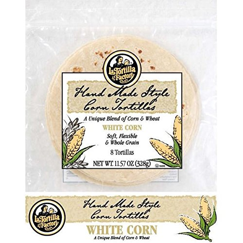 La Tortilla Factory White Corn Whole Grain Tortillas, 11.57 Ounce (Pack of 12) White Corn Tortilla