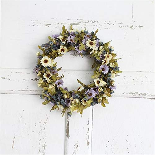 Evan Fordd Simulate Pretty Daisy Wreath Garland Lintel Floriation Hanging Pendant Door Wedding Festival Decoration -40 Light Purple 30cm ()
