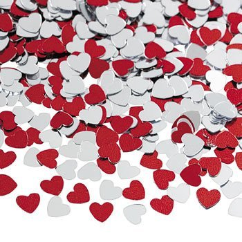 Metallic Foil Red and Silver Heart Confetti -