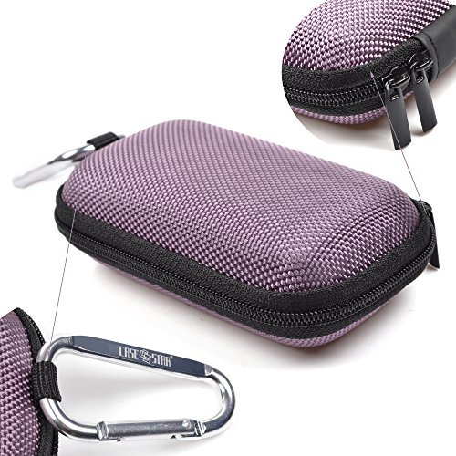 Case Star ® Rectangle-Shaped Hard EVA Case Bag and Silver Color Climbing Carabiner for Jarv NMotion Sport Wireless Bluetooth 4.0 Stereo Earbuds/Headphones MP3/MP4 iPod Shuffle (Purple/black Color)