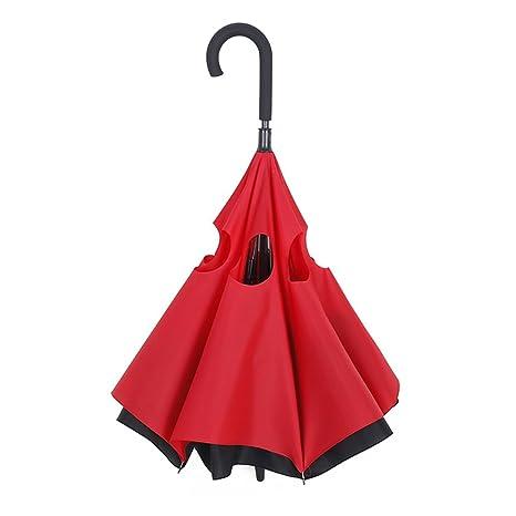 Doble Capa invertido Paraguas, Zomtop creativo de doble capa recto impermeable, a prueba de