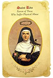 Silver Tone Saint Rita Patron of Those Who Suffer Physical Abuse Medal and Holy Card, 1 Inch
