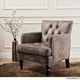 Living Room Chair Medford Greyish Brown Microfiber Club Chair