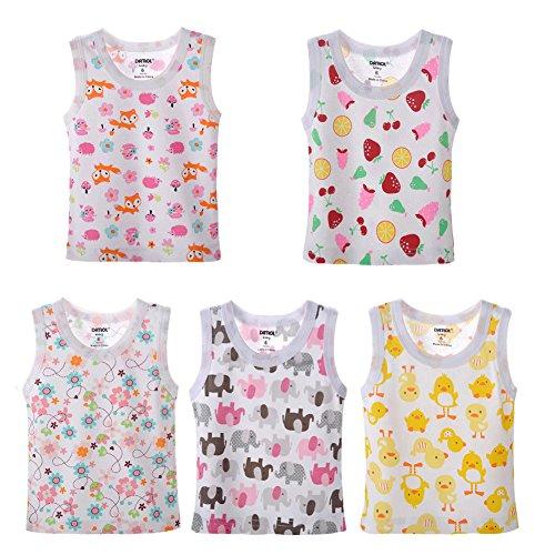 Pack Carton Print Sleeveless Tank Tops 100% Cotton 12 Months (Baby Girls Tank Top)