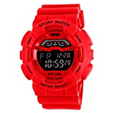 Unisex Large Dial Water-resistance Watches Casual Students Outdoor Sports Watches - Red