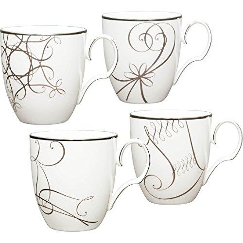 - Noritake Platinum Wave Holiday Mugs Set of 4 - 15 Oz.