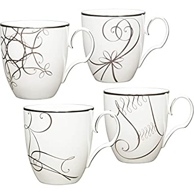 Noritake Platinum Wave Holiday Mugs Set of 4 - 15 Oz.