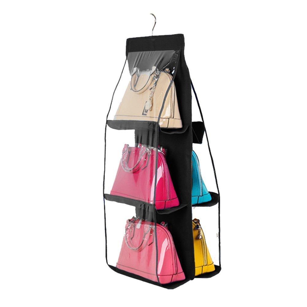 Geboor Hanging Handbag Organizer Dust-Proof Storage Holder Bag Wardrobe Closet for Purse Clutch with 6 Larger Pockets Black
