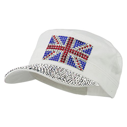 - Jewel Army Cap with Great Britain Flag - White OSFM