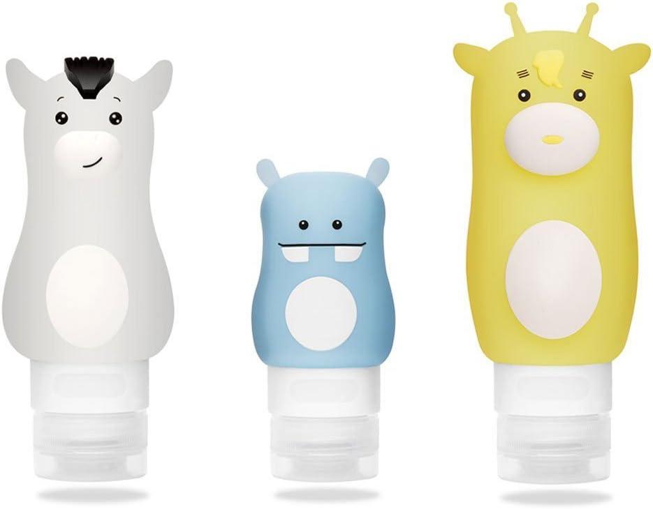 Botella de Viaje de Silicona,ONEGenug Flexibles & Recargables Viajes Botellas Recipientes de Silicona,para champú, loción, Gel de Ducha, Recipiente líquido, 3 Pzs,Libre de BPA,FDA Aprobado