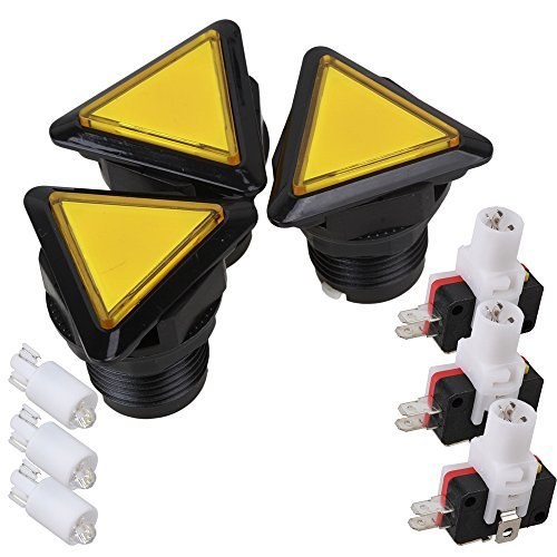 Yellow and Black DC 12V Indicator Arcade Game Triangle Button Momentary Push Button Switch Pack of 3