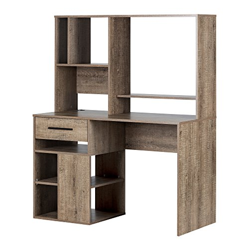 South Shore Narrow Home Office Computer Desk with Hutch, Weathered Oak
