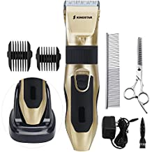Kingstar Rechargeable Cordless Pet Grooming Clippers Kit, Professional Low Noise Electric Pets Cat Hair Remover Cutter Animal Clipper Dog Shaver Trimming Set for Small Medium Large Dogs Cats