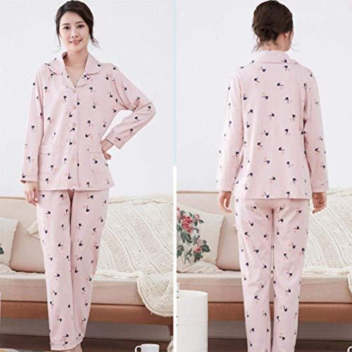 Karité Cálido Pijamas Conjunto Ropa Noche Mode Paño Damas Otoño Dormir Pijama Marca De Para F Calientes Puro Manga Algodón Larga qxgO76