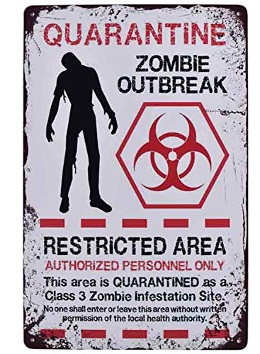 Flytime Warning Restricted Area Quarantine Zombie Outbreak Vintage Tin Signs Retro Metal Plate Wall Decor Funny Coffee Bar Signs 8X12Inch -