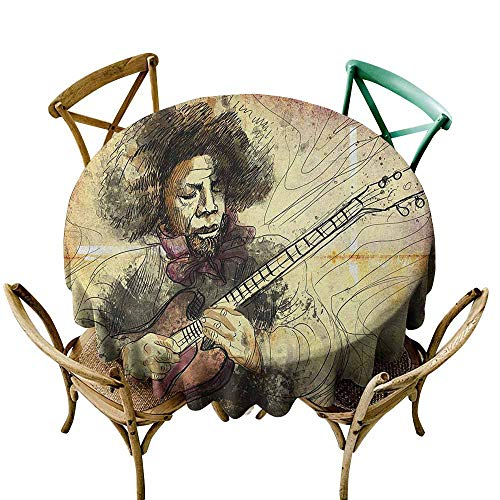 (Sunnyhome Water Resistant Table Cloth Jazz Music Guitar Virtuoso Hand Drawn Style Illustration of a Guitar Player Musician Brown Beige Black Modern Minimalist 40 INCH)