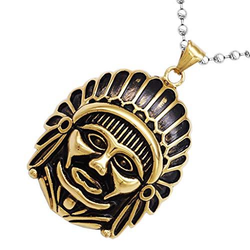 American Art Pendant - Biker Hip Hop Men Women Indian Chief Amulet Pendant Native American Necklace Jewelry Crafting Key Chain Bracelet Pendants Accessories Best| Color - Golden