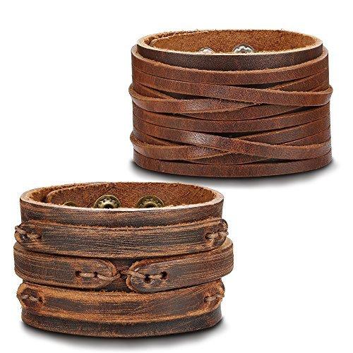 Thunaraz 2PCS Leather Cuff Bracelet Wrap Wristband Button Bangle for Men Women ()