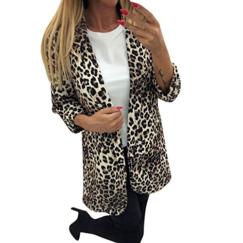 Sexy Leopard Coat,Ladies Print Cardigan Trench Blouse Keep Warm Tops Pullover for Womens ()
