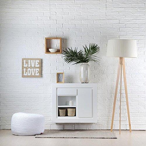 Colore Bianco Winter Sebath Hall Pensile Bianco 75x22x65 cm Legno