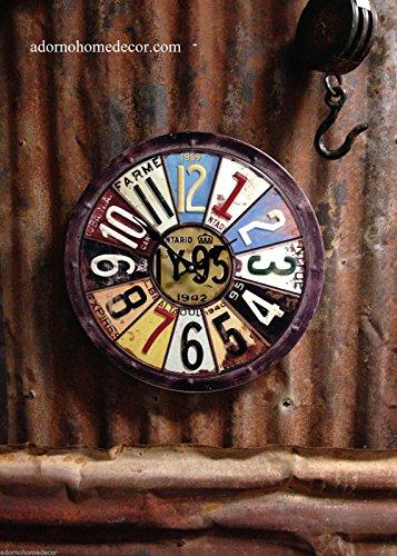 (Metal Round License Plate Wall Clock Round Industrial Distressed Rustic Vintage)