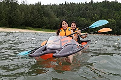 ClearYup Transparent Kayak Crystal Clear Electric 2-Person Remote Control Kayak Set with Paddle Plastic Polycarbonate Canoe