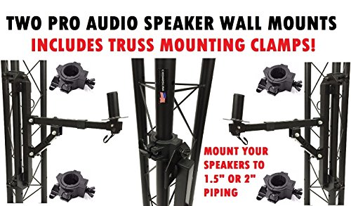 2 Pro-Audio Wall Mount Bracket Speaker Holders Stands PA DJ Mountable Brackets Includes Clamps For Mounting To Truss by Cedarslink