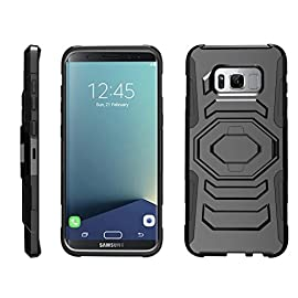 TurtleArmor | Compatible with Samsung Galaxy S8+ Case | S8 Plus Case | G955 [Octo Guard] Dual Layer Case Holster Belt Clip Sturdy Kickstand Cover - Bat Signal 11