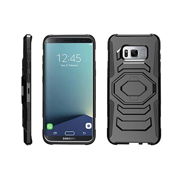 TurtleArmor | Compatible with Samsung Galaxy S8+ Case | S8 Plus Case | G955 [Octo Guard] Dual Layer Case Holster Belt Clip Sturdy Kickstand Cover - 1