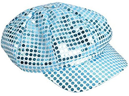 [Funky Retro Blue Costume Sequin Newsboy Baseball Hat] (Baseball Girl Costume)