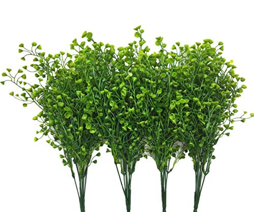 Flower Arrangements Green (CATTREE Artificial Shrubs Bushes, Plastic Fake Green Plants Wedding Indoor Outdoor Home Garden Verandah Kitchen Office Table Centerpieces Arrangements Christmas Decoration - Green 4 pcs)