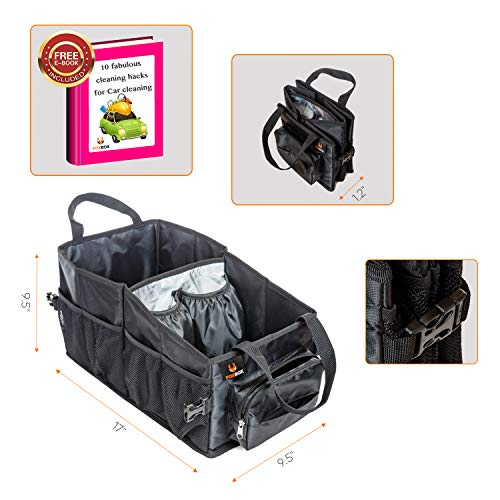 Tote Car Organizer Front Seat & Backseat with Tissue Box and Insulated Cooler Cup Holder l Car Storage Box with Bin l Trunk Organizer for Car Accessories I Back seat Organizer for Kids (Black)