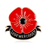 AGR8T Lest We Forget Enamel Red Poppy Flower Brooch Remembrance Day Gift
