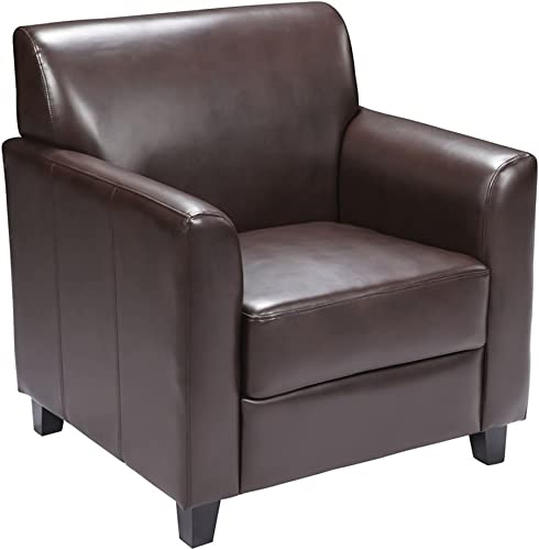 Offex Brown Leather Reception Chair