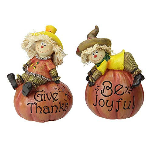 Pumpkin Thanksgiving Set - Set of 2 Scarecrow on a Pumpkin Thanksgiving Table Figures
