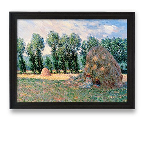 Haystacks by Claude Monet Framed Art Print Famous Painting Wall Decor Dark Coffee Brown Frame