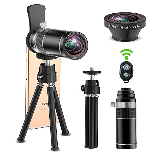 Cell Phone Camera Lens, 20x Telephoto Lens + 180 Degree Fisheye Lens, 2 in 1 Phone Camera Lens + Tripod + Remote Shutter for iPhone x 8 7 6s 6 Plus, Samsung Galaxy & Most Android Smartphone