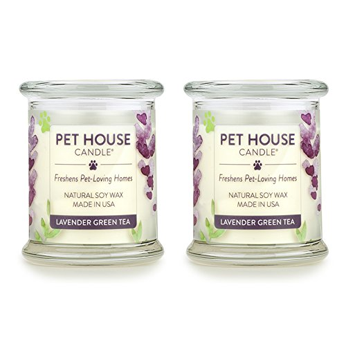 One Fur All - 100% Natural Soy Wax Candle - Pet Odor Eliminator, Up to 60 Hours Burn Time, Non-Toxic, Eco-Friendly Reusable Glass Jar Scented Candles - Lavender Green Tea - Pack of 2