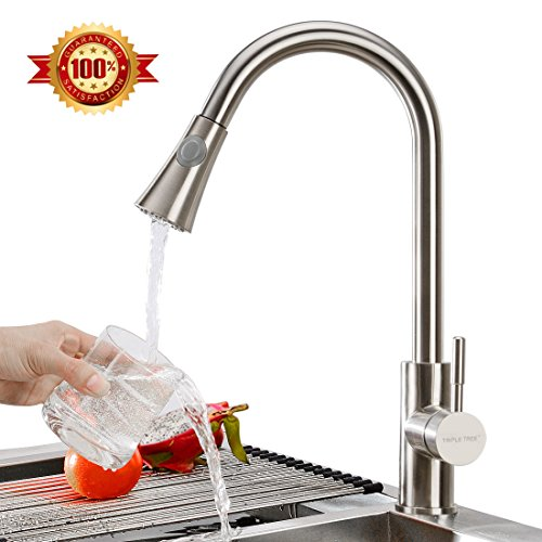 Triple Tree 304 Stainless Steel Kitchen Faucet, Lead-Free Single Handle Pull Down Kitchen Sink Faucet with High Arc 360 Rotatable Two-function Nozzle
