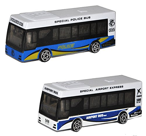 Bus - Spielzeugbus - Maßstab 1:64 mit individuellem Wunschkennzeichen - Fernbus - Polizeibus - Stadtbus - Airport Bus - Metall / Kunststoff - Touristenbus - Türen - Modell Automodell / Reisebus