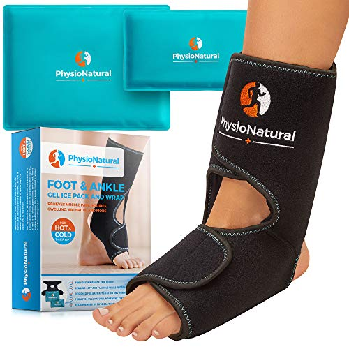 Foot & Ankle Pain Relief Ice Wrap with 2 Hot/Cold Gel Packs - for Sprained Ankle, Achilles Tendon Injuries, Plantar Fasciitis, Bursitis & Sore Feet | Microwaveable, Freezable and Reusable (XS-XL) (Best Pain Reliever For Sprained Ankle)