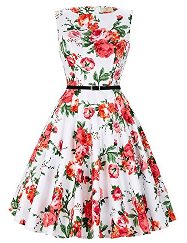 50s Vintage Style Dress for Women Sleeveless Size 2XL F-39 from GRACE KARIN
