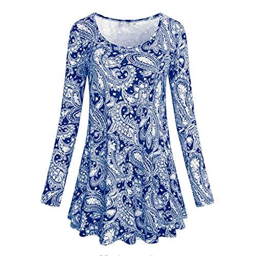 Sunhusing Women's Long Sleeve Cashew Print Dress Ladies Fashion O Neck Floral Print Casual ()