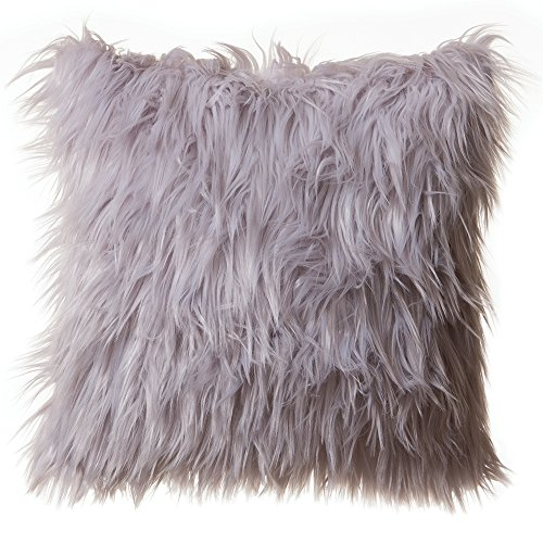 "Faux Fur Throw Pillow 18""x18"" With Insert, Mongolian Long Hair Silver"