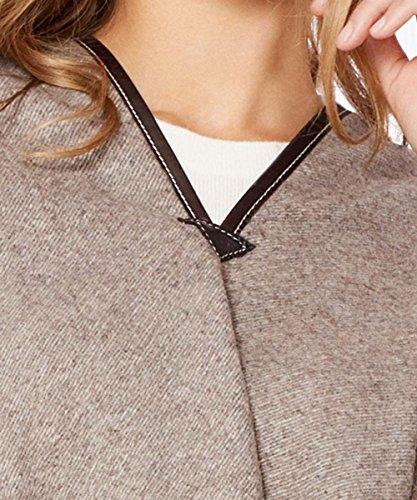 Mantas de GRAZALEMA ® Poncho Cape Femme Azteca Marron | 100% Laine Mérinos | 140 x 120 cm + Franges | Fabriqué en Espagne