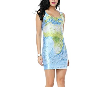 Women multi world map print dress milk style package hip mini women multi world map print dress milk style package hip mini sundress gumiabroncs Images
