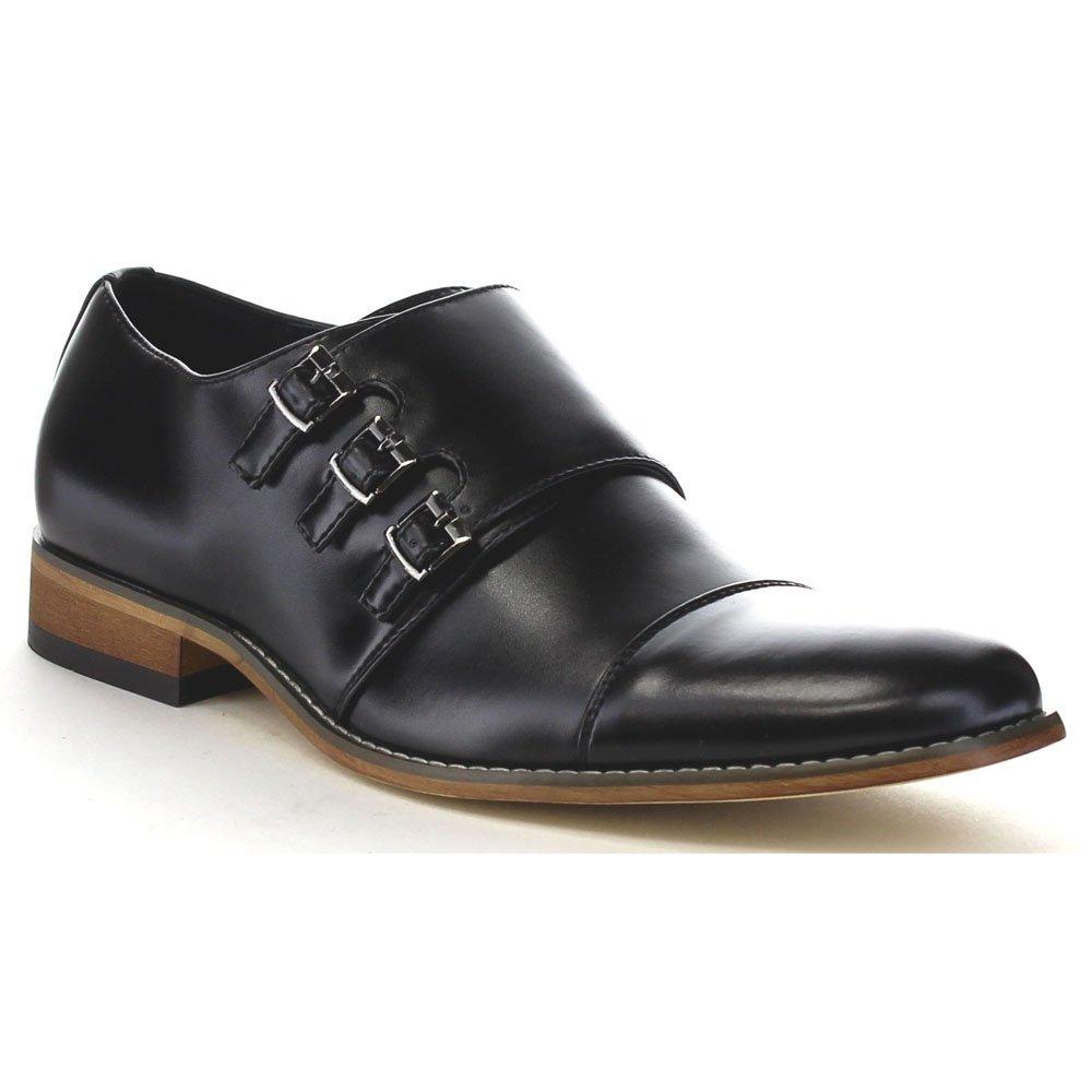 UV SIGNATURE EA27 Men's Chic Cap Toe Monk Strap Dress Shoes Run Half Size Big, Color:BLACK, Size:10