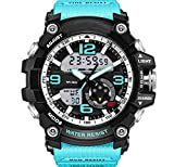 Bounabay Men's Dual Time Military Quartz Analog Wrist Watch Waterproof LED Sport Watch,Blue